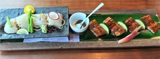 鰻蒲焼、白身魚のそばカルパッチョ