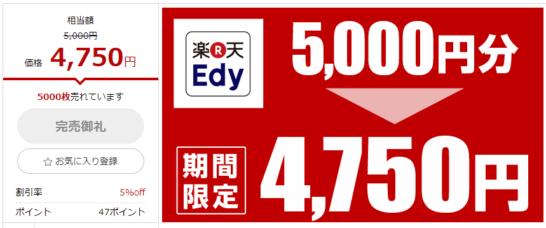 楽天Edy5,000円分が4,750円の画面(RaCoupon)