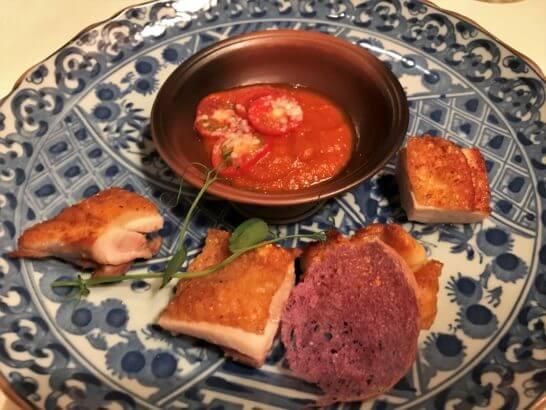 ザ・リッツ・カールトン大阪のスプレンディードの三重県 熊野地鶏のローストとトマト
