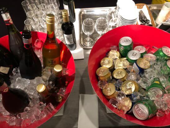 東京マリオットホテルのエグゼクティブラウンジのワイン・ビール