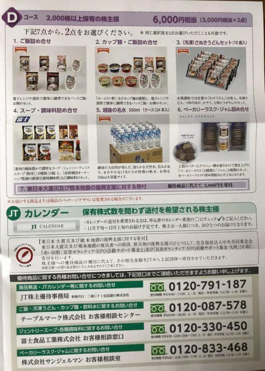 JTの株主優待 (Dコースとカレンダー)