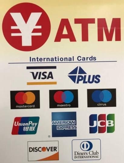ATMで使える国際ブランドのロゴの案内