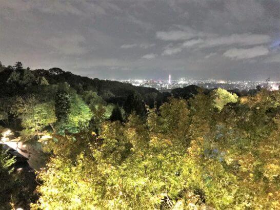 夜の清水寺から見る京都駅方面の夜景