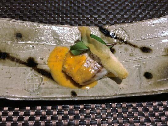 真鯛のソテー 雲丹バターソースと洋葱クリーム