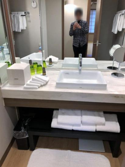 軽井沢マリオットのエグゼクティブスイートの洗面所