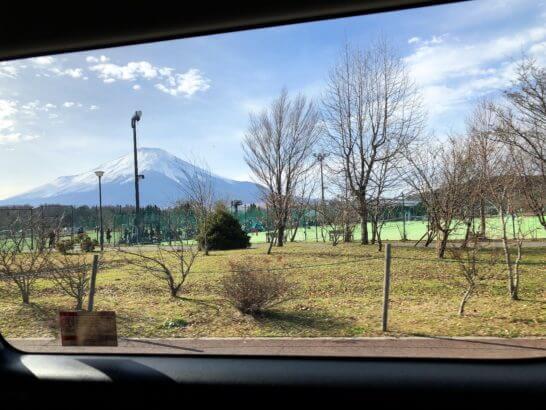 富士マリオットホテルの送迎バスから見えた富士山
