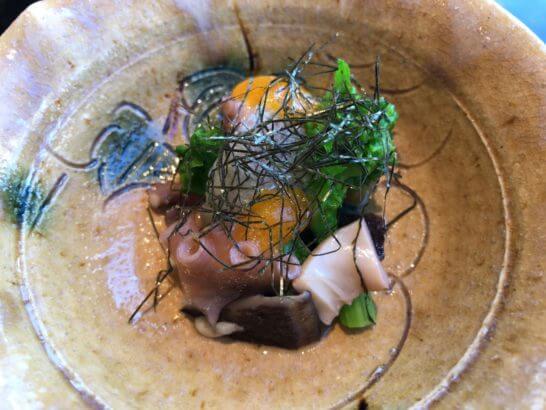 パークハイアット東京の日本料理 梢のタコと卵料理