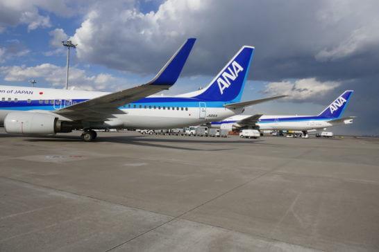 駐機しているANAの飛行機