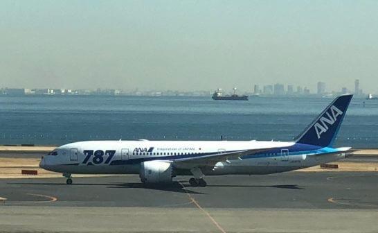 ANAの飛行機(ボーイング787)