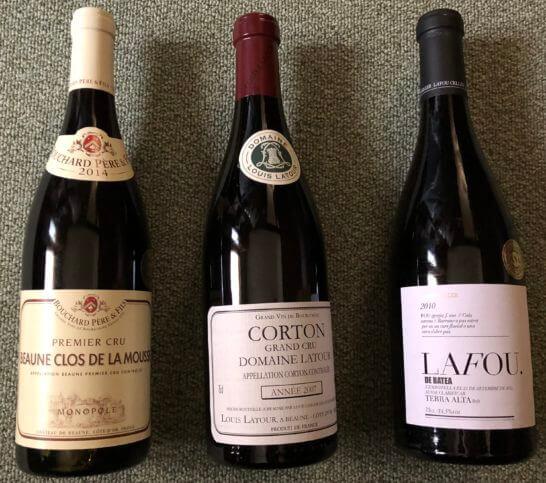 ANA国際線ファーストクラスの赤ワイン3本