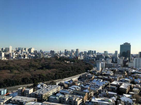 ウェスティンホテル東京のプラチナフロアの客室からの眺め