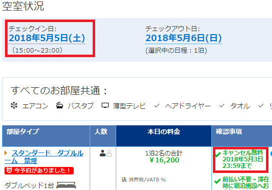 Booking.comのキャンセル料が無料の期間(2日前までのケース)
