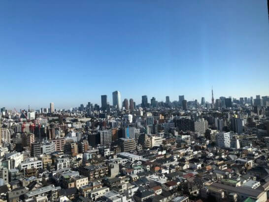ウェスティンホテル東京の客室からの眺め(朝)