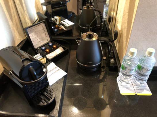 ウェスティンホテル東京のプラチナフロアのコーヒー・水