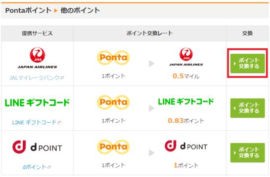 Pontaポイント→JALマイルへの交換手順(2)PC