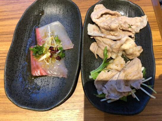 魚のカルパッチョ、神戸ポークのしゃぶしゃぶ