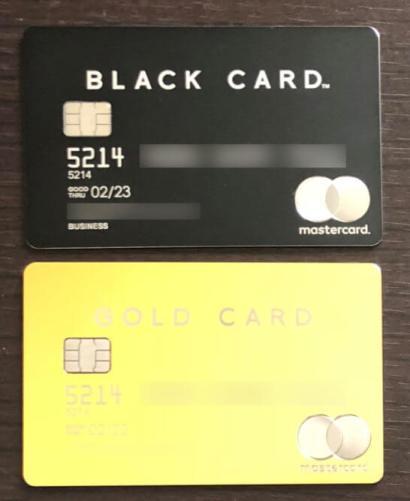 2枚のラグジュアリーカード(ブラックカードとゴールドカード)