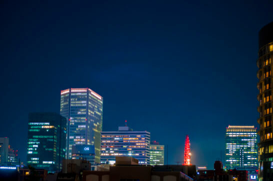 HEP FIVEの観覧車と大阪の夜景