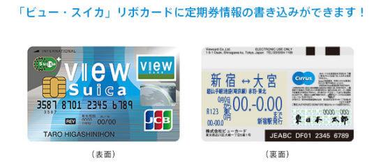 「ビュー・スイカ」リボカードの定期券一体型機能