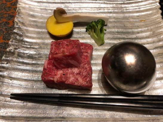 箱根吟遊の夕食のステーキ