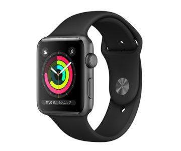 Apple Watch Series 3(GPSモデル)42mmスペースグレイアルミニウムケースとブラックスポーツバンド