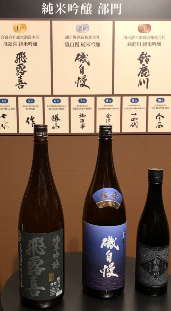 純米吟醸部門2019 1~3位のボトル