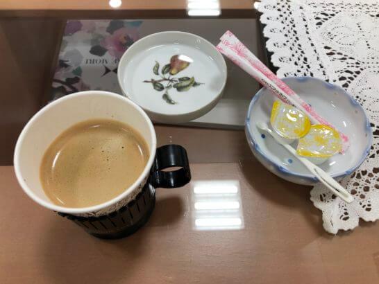 伊勢丹立川店のお得意様サロンのコーヒー