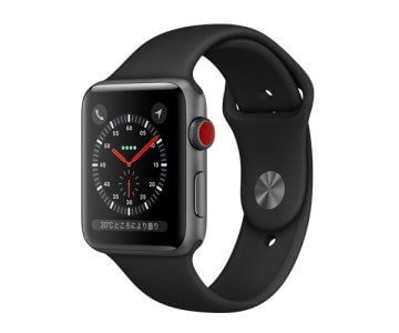 Apple Watch Series 3(GPS + Cellularモデル)スペースグレイアルミニウムケースとブラックスポーツバンド