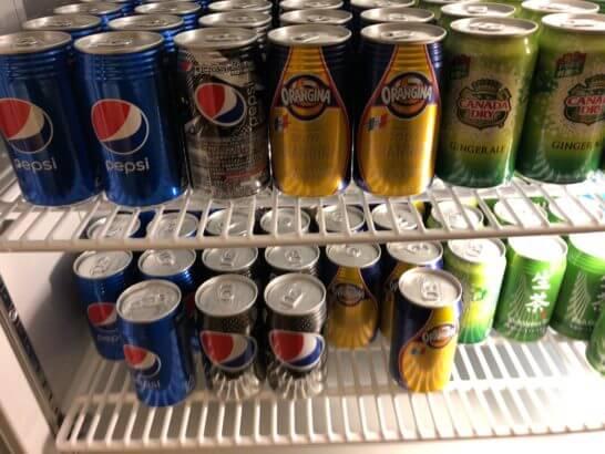 横浜シェラトンのクラブラウンジの缶ジュース