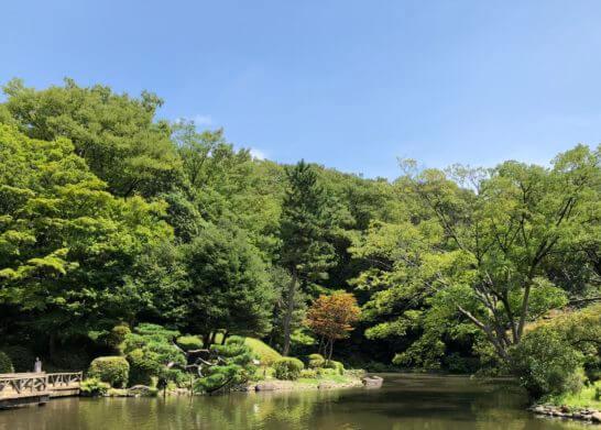 有栖川宮記念公園の緑と青空