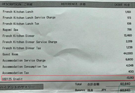 ファインホテルアンドリゾートのホテルクレジットの割引き明細