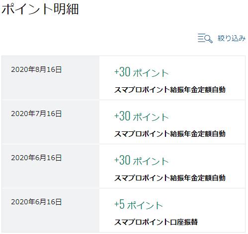 住信SBIネット銀行のポイント獲得明細
