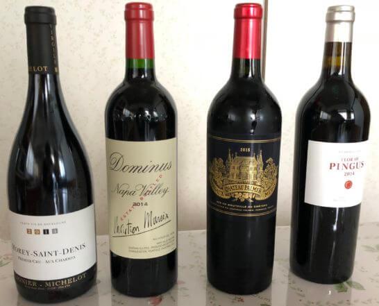 4本の赤ワイン