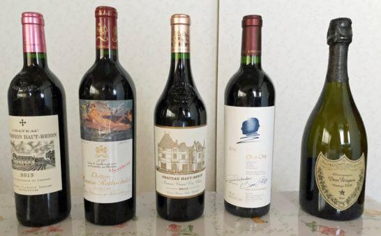 高級赤ワインとシャンパン