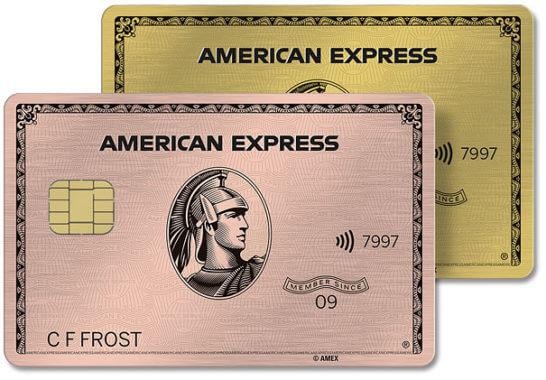 アメックス・ゴールドのメタルカード(通常色とローズゴールド)