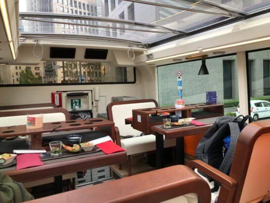 東京レストランバスの後部4人席