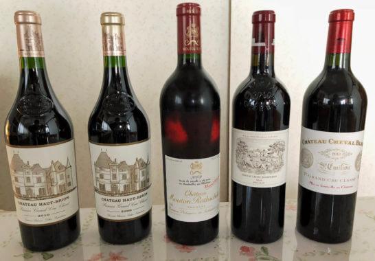 ボルドーの赤ワイン5本