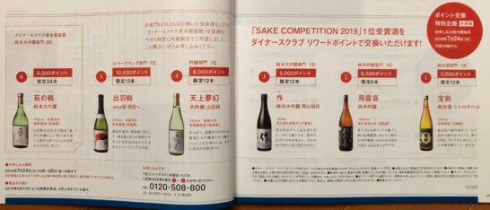 SAKE COMPETITON受賞酒へのダイナースクラブ リワードポイントの交換案内