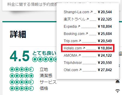 Hotels.comの価格例(シャングリラ ホテル バンコク)