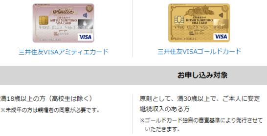 三井住友VISAアミティエカードと三井住友VISAゴールドカードの申込対象