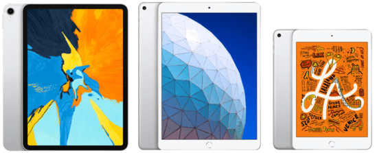 iPad Pro、iPad Air、iPad mini