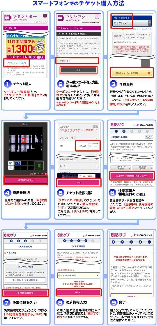 スマートフォンでのイオンシネマチケット購入方法(ポイントも獲得)