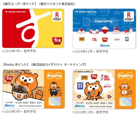 楽天ポイントカードとPontaポイントカード(ゼンショーオリジナルデザイン)