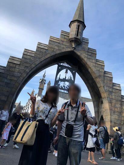 ウィザーディング・ワールド・オブ・ハリー・ポッターエリア前での記念撮影