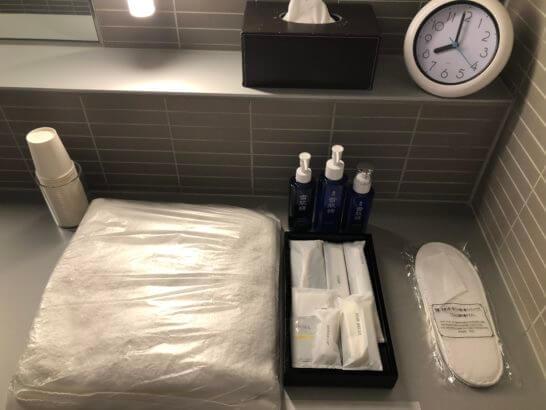 ANAラウンジ(羽田空港国際線)のシャワールームのアメニティ