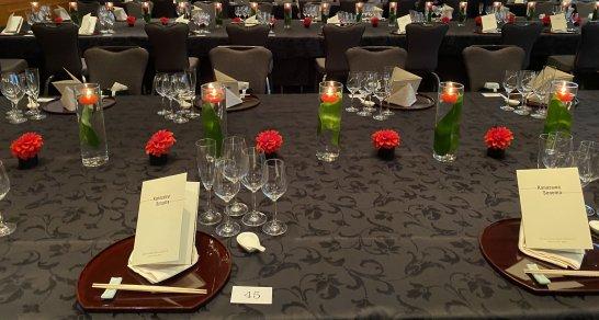SPGアメックスのスペシャルディナーイベント「Kanazawa Sonoma」のテーブル