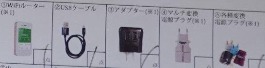 グローバルWi-Fiのレンタル機器一式(付属品含む)