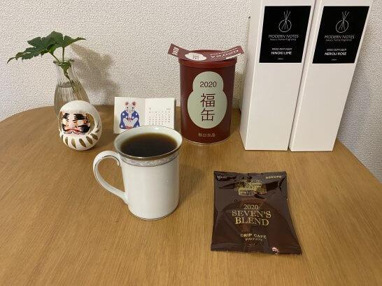 ドトールの福袋のドリップコーヒー、無印良品の福缶、ディヒューザー