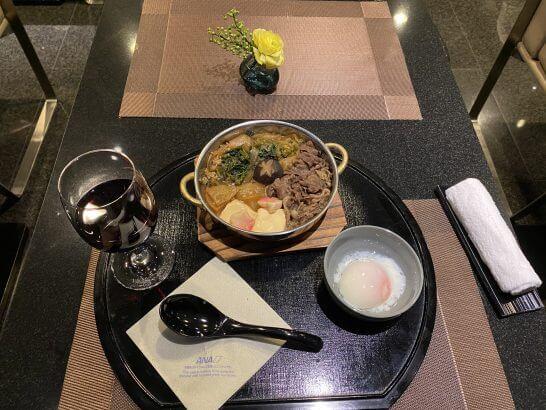 ANAスイートラウンジ(羽田)のすき焼き鍋