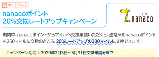 nanaco→ANAマイル交換レートUPキャンペーン